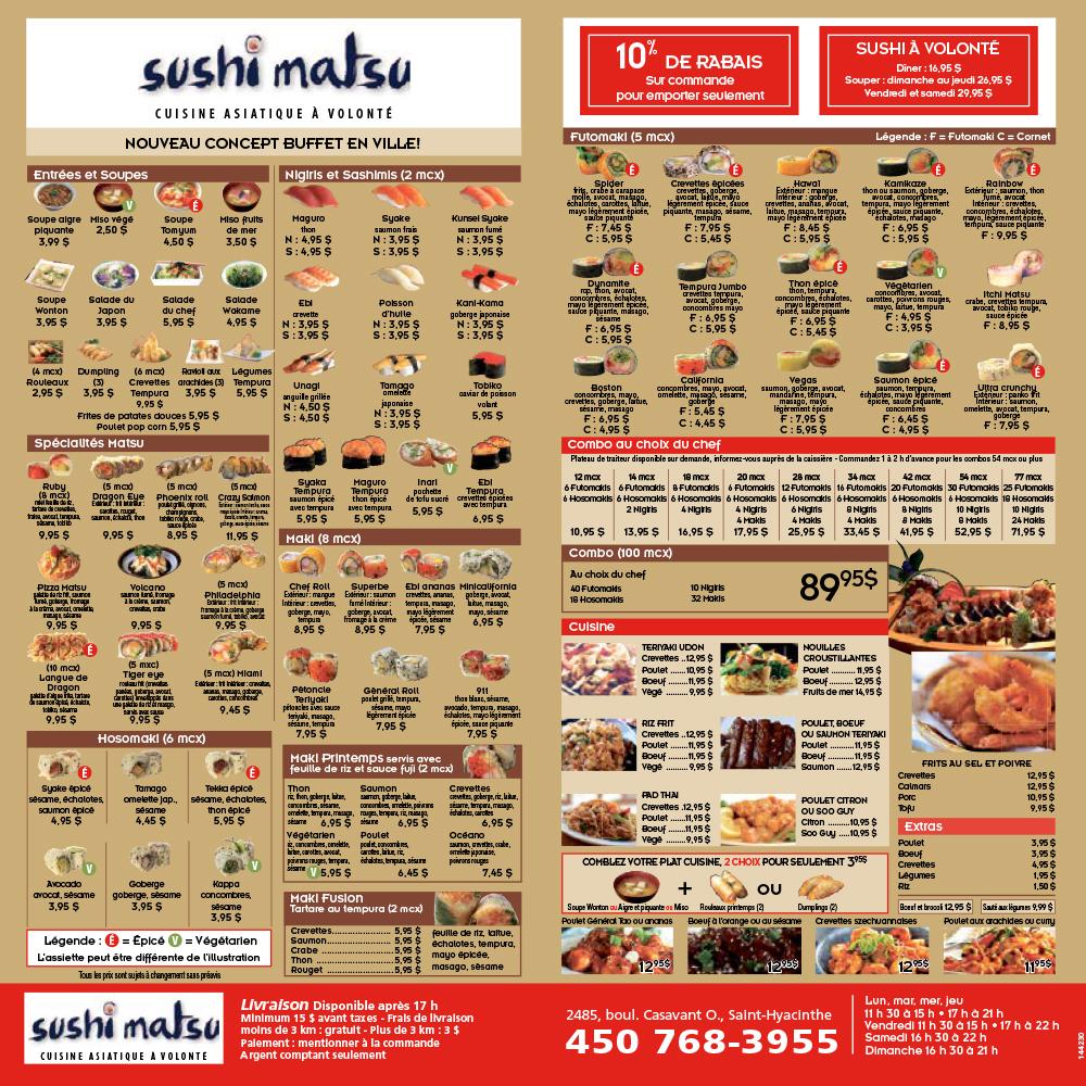 Menu Sushi Matsu