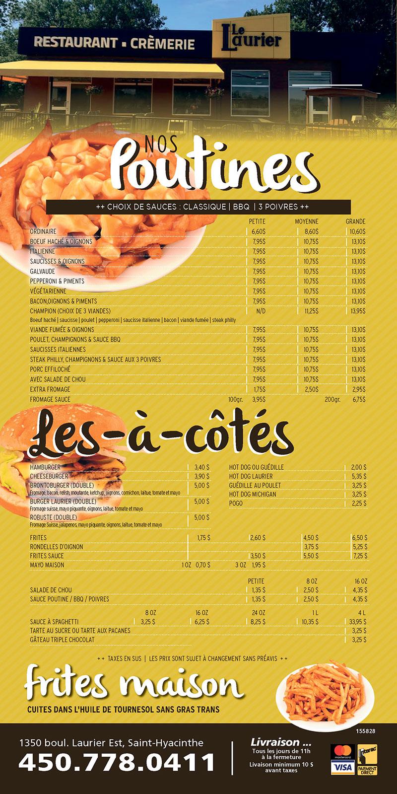 Menu Restaurant Friterie Laurier