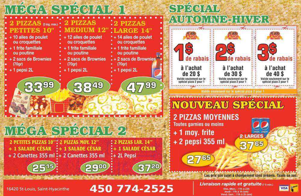 Menu Pizza du coin