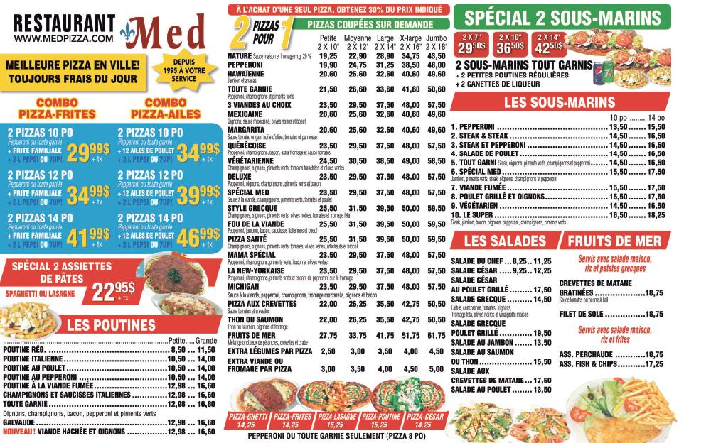 Menu Med Pizza