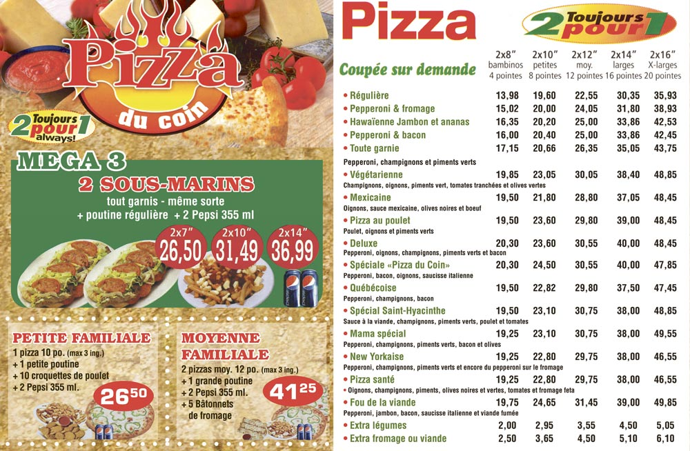Menu Pizza du coin
