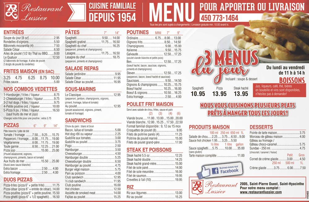Menu Restaurant Roma